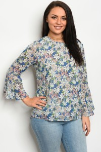 115-3-1-T25385X BLUE FLORAL PLUS SIZE TOP 3-2-2
