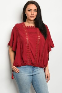 239-1-4-T16741X WINE PLUS SIZE TOP 2-2-2