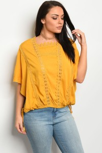 S13-9-4-T16741X MUSTARD PLUS SIZE TOP 2-2-2