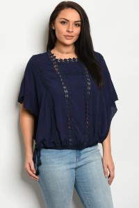 S13-8-1-T16741X NAVY PLUS SIZE TOP 2-2-2