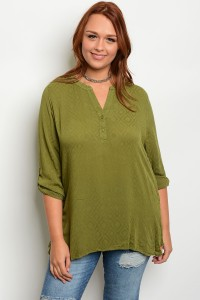 S10-13-5-T8162X OLIVE PLUS SIZE TOP 2-2-2