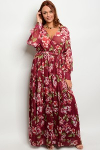 104-4-1-DPL18220P22 BURGUNDY FLORAL PLUS SIZE DRESS 2-2-2