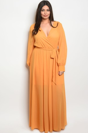119-1-2-D14960X MUSTARD PLUS SIZE DRESS 2-2-2