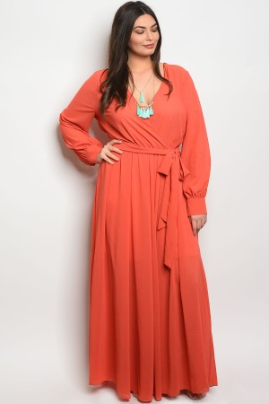 120-2-4-D14960X RUST PLUS SIZE DRESS 2-2-2