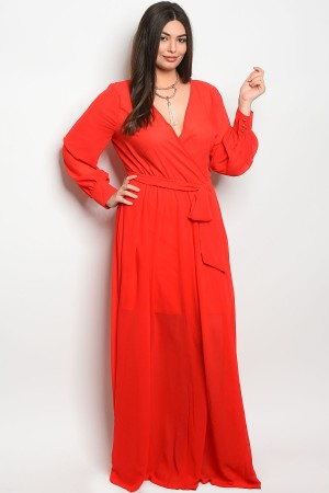 130-1-1-D14960X RED PLUS SIZE DRESS 2-2-2