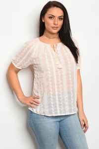 241-1-3-T15007X LIGHT PEACH PLUS SIZE TOP 2-2-2
