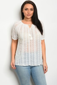 241-1-3-T15007X OFF WHITE PLUS SIZE TOP 2-2-2