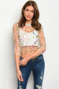 S9-4-1-T1149 WHITE FLORAL TOP 2-2-1