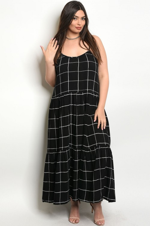 106-6-1-D3952X BLACK WHITE PLUS SIZE DRESS 2-2