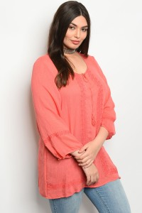 241-3-3-T223GX CORAL PLUS SIZE TOP 2-2-2