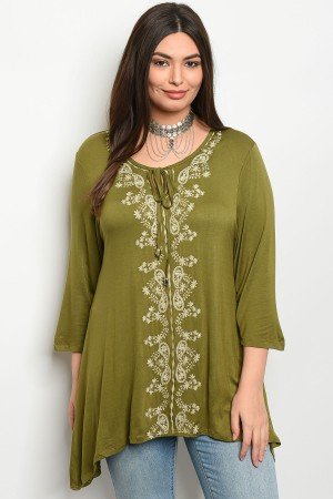 105-5-4-T325RX GREEN PLUS SIZE TOP 2-2-2