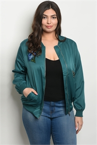 S11-10-1-J51268X HUNTER GREEN PLUS SIZE JACKET 2-2-2