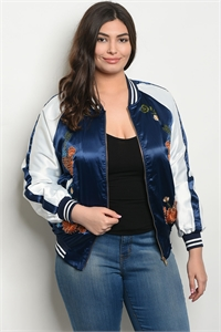129-3-3-J51289X NAVY OFF WHITE WITH FLOWER PLUS SIZE JACKET 2-2-2