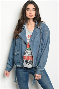 S2-10-3-J90468 BLUE DENIM MOTO JACKET 3-2-1