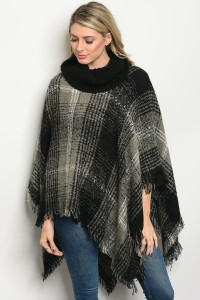 S9-20-5-PJC10 BLACK GRAY PONCHO / 6PCS