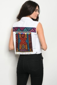 S11-7-1-V97010 WHITE DENIM MULTI VEST 2-2-2