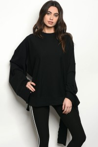 S3-9-2-NA-T1298 BLACK DISTRESSED SWEATSHIRT 3-2-1