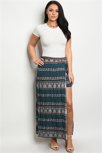 C16-A-1-S8421X TEAL RUST PLUS SIZE SKIRT 2-2-2