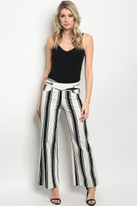 S2-8-1-P3529 CREAM BLACK STRIPES PANTS 2-2-2