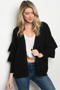 S3-10-3-C2471 BLACK SWEATER CARDIGAN 3-2-1