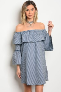 S2-5-4-D16724 BLUE OFF WHITE POPLIN STRIPED DRESS 2-2-2
