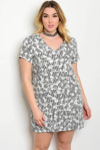 108-3-2-D31637X BLACK WHITE PLUS SIZE DRESS 2-2