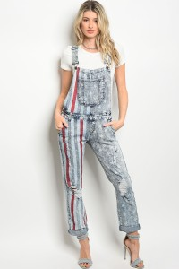 S8-2-2-O5716 BLUE DENIM WASH OVERALL 2-2-2