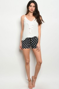 S10-12-5-S0714 BLACK WHITE POLKA DOTS DENIM SHORTS 2-3-3-1