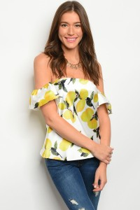 S11-9-1-TRT259 WHITE YELLOW LEMONS OFF SHOULDER TOP 2-2-2
