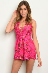 S3-6-4-R7174 FUCHSIA WITH FLOWERS EMBROIDER ROMPER 3-2-1