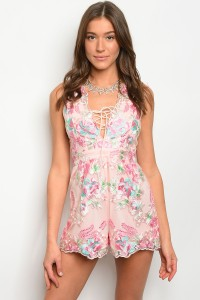 S3-6-4-R7174 LIGHT PINK WITH FLOWERS EMBROIDER ROMPER 3-2-1