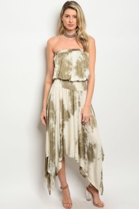 C61-A-4-D3169 OLIVE CREAM TIE DYE DRESS 2-2-2