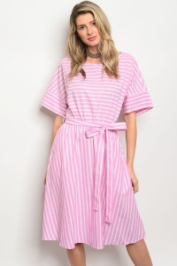 C63-A-3-D3172 PINK WHITE STRIPES DRESS 2-2-2
