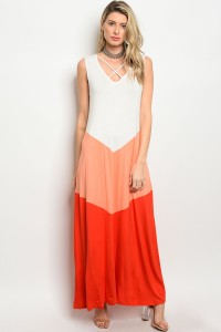 C88-A-5-D3178 IVORY PEACH ORANGE DRESS 2-2-2
