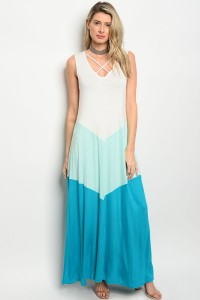 C90-A-2-D3178 IVORY MINT TEAL DRESS 2-2-2