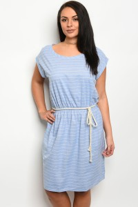 C61-A-2-D3148X LIGHT BLUE DENIM PLUS SIZE DRESS 2-2-2