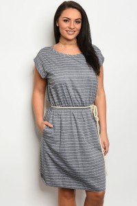C45-A-4-D3148X GRAY DENIM PLUS SIZE DRESS 2-2-2