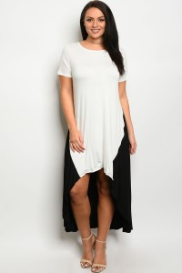 C39-A-6-D3160X IVORY BLACK PLUS SIZE DRESS 2-2-2