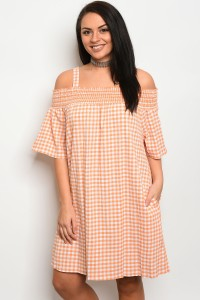 C35-A-6-D3029X PEACH WHITE GINGHAM PLUS SIZE DRESS 2-2-2