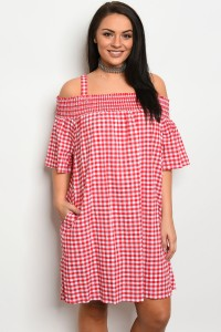 C24-A-2-D3029X RED WHITE PLUS SIZE DRESS 2-2-2