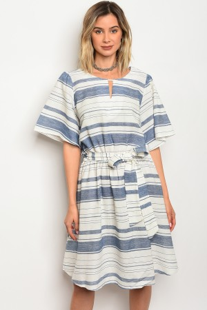 C79-A-4-D3144 OFF WHITE BLUE DRESS 2-2-2