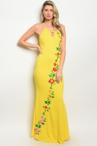 S5-2-2-D07088 YELLOW WITH FLOWER PRINT DRESS 2-2-2