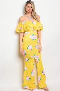 S4-2-1-D00251 YELLOW FLORAL DRESS 2-2-2