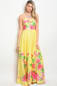 S4-2-2-D08800 YELLOW FLORAL DRESS 2-2-2