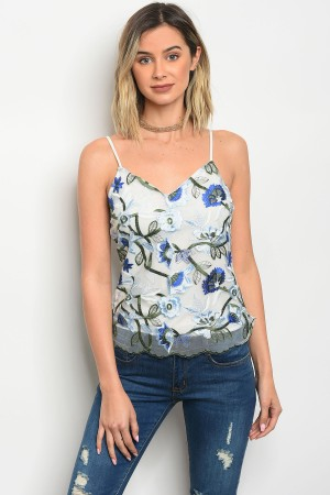 C71-B-4-T2979 OFF WHITE BLUE TOP 2-2-2