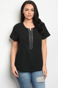 115-2-3-T3030X BLACK PLUS SIZE TOP 1-1-2