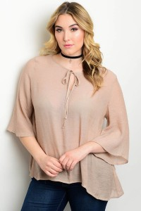 116-1-3-T151X TAUPE PLUS SIZE TOP 2-3