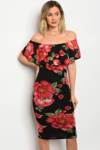 C24-A-3-D5603 BLACK WITH RED FLOWERS DRESS 2-2-2