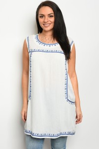 135-3-2-D7005X IVORY BLUE PLUS SIZE TOP 3-2-2