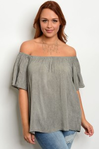 C16-B-1-T21169X GRAY PLUS SIZE TOP 2-2-3